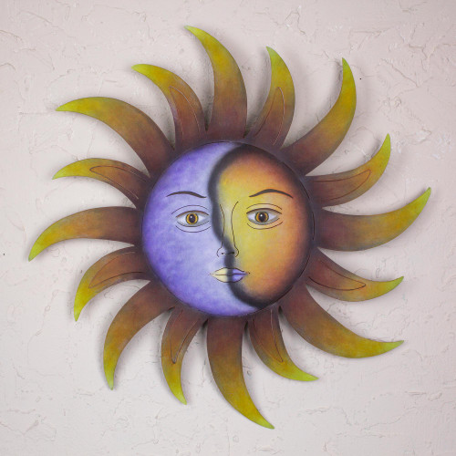 Artisan Crafted Sun and Moon Wall Art in Hand Painted Steel 'Celestial Marriage'