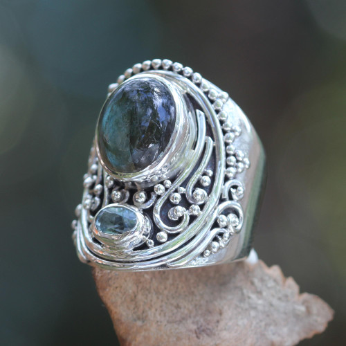 Handcrafted Balinese Labradorite and Blue Topaz Silver Ring 'Misty Starlight'