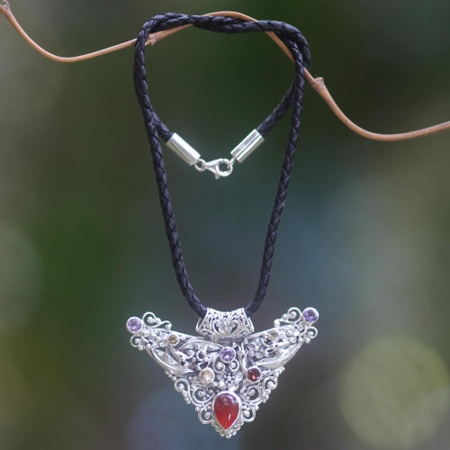 Artisan Crafted Sterling Silver Necklace with 6 Gemstones 'Bali Supreme'