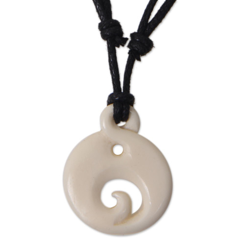 Hand Carved Bone Pendant on Cotton Necklace from Bali 'Moonlit Wave'