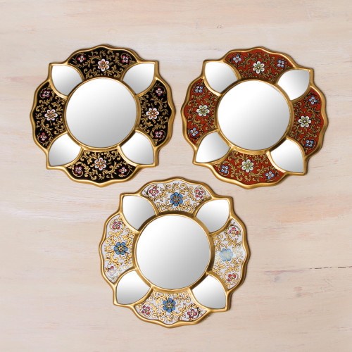 Set of 3 Collectible Petite Reverse Painted Glass Mirrors 'Floral Trio'
