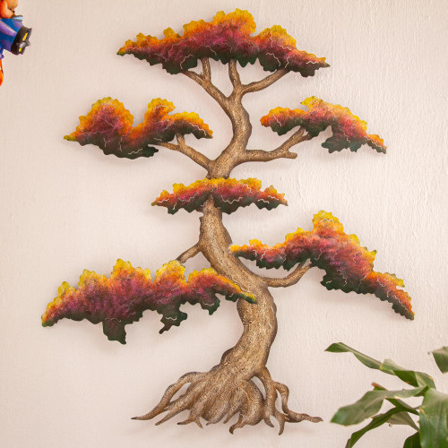 Artisan Crafted Steel Wall Sculpture of a Tree 'Red Bonsai'