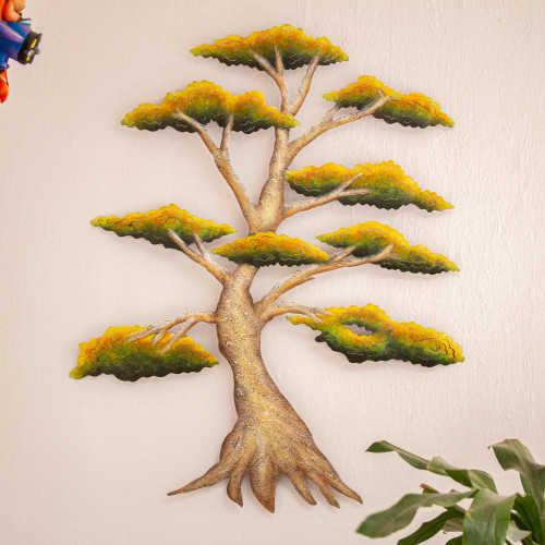Handcrafted Mexico Steel Wall Sculpture of a Tree 'Sunny Bonsai'