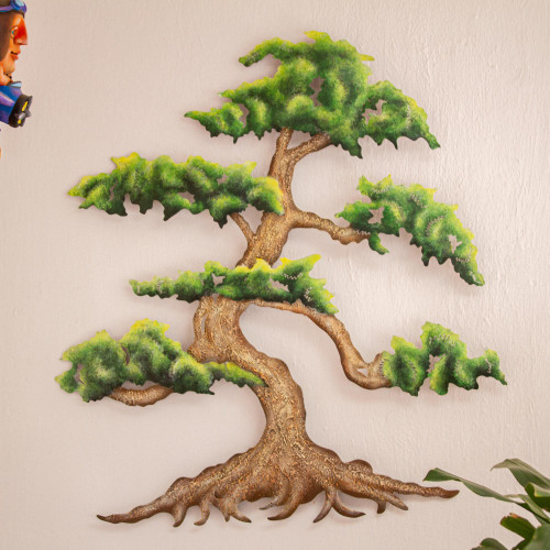 Artisan Crafted Steel Wall Sculpture of a Tree 'Verdant Bonsai'
