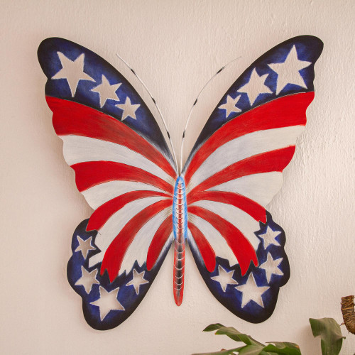 Star Spangled Steel Butterfly Wall Art from Mexico 'Freedom is Fragile'