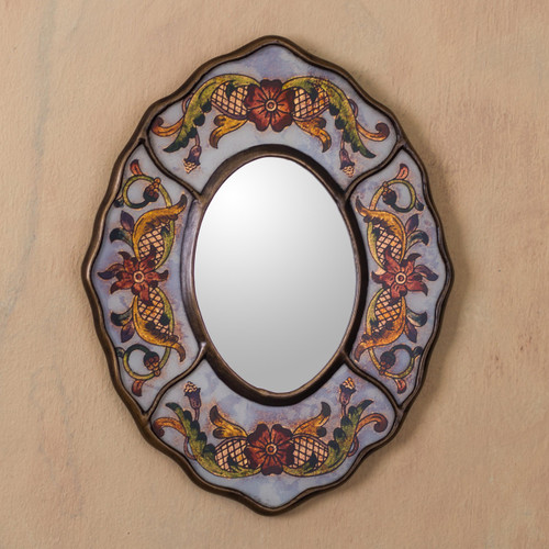 Aged White Reverse Painted Glass Wall Mirror from Peru 'White Colonial Wreath'