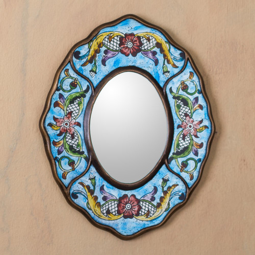 Fair Trade Reverse Painted Glass Wall Mirror in Aged Blue 'Blue Colonial Wreath'