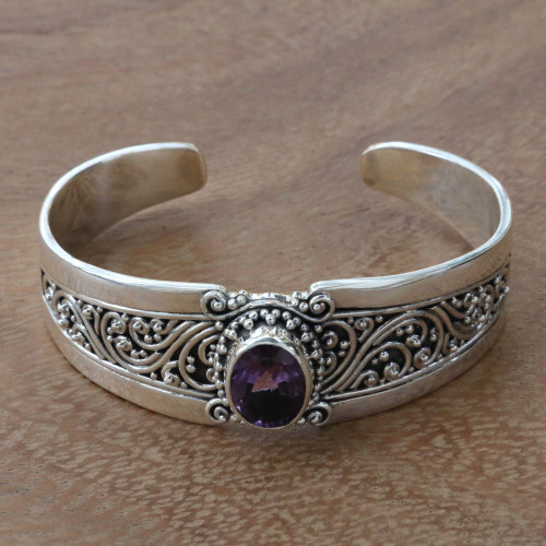 Amethyst and Sterling Silver Balinese Style Cuff Bracelet 'Twilight Goddess'