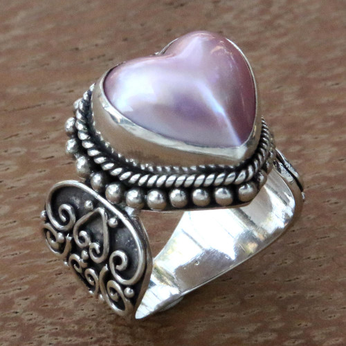 Romantic Heart Shaped Pink Cultured Mabe Pearl Ring 'Romance in Pink'