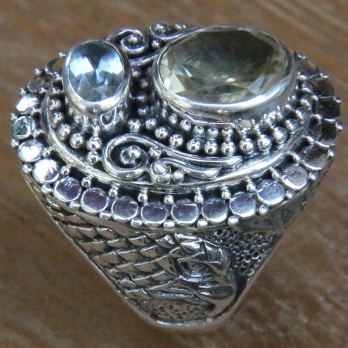 Citrine and Blue Topaz Eagle Themed Sterling Silver Ring 'Eagle Grandeur'