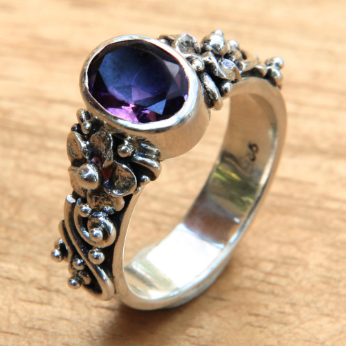 Amethyst and Sterling Silver Single Stone Flower Ring 'Frangipani Path'
