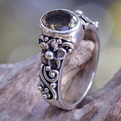 One Carat Citrine Cocktail Ring in Sterling SIlver 'Wayside Flower'