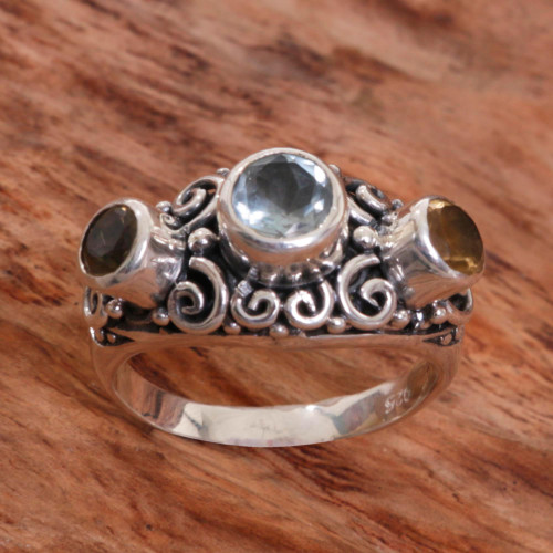 Balinese Citrine Sterling Silver and Blue Topaz Ring 'Spirit of the Islands'