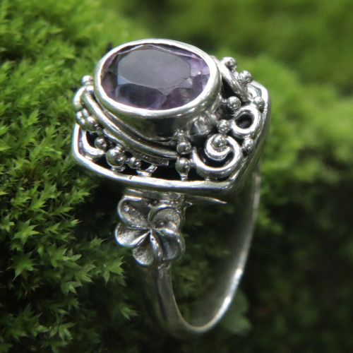 Sterling Silver Balinese Floral Cocktail Ring with Amethyst 'Orchids and Frangipani'