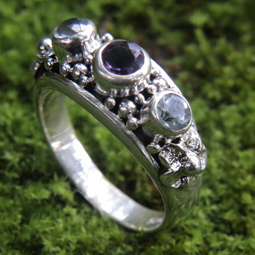 Amethyst and Blue Topaz Sterling Silver Floral Ring 'Seminyak Blossoms'