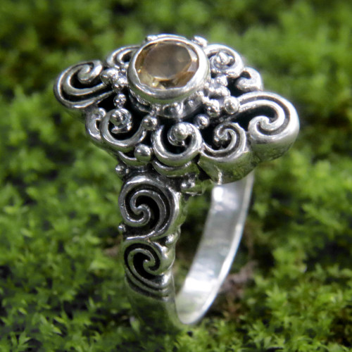 Handcrafted Balinese Citrine Sterling Silver Cocktail Ring 'Sunny Spirit'
