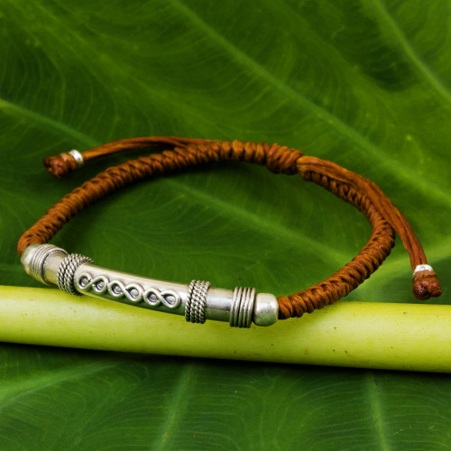Sterling Silver Accent Bracelet from Thailand 'Infinite Legend in Rust'
