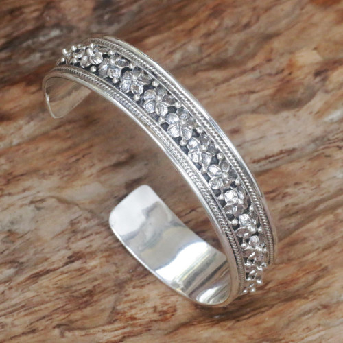 Hand Made Sterling Silver Floral Cuff Bracelet Indonesia 'Frangipani Line'
