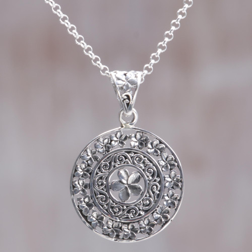 Hand Made Sterling Silver Floral Pendant Necklace Indonesia 'Sacred Petals'