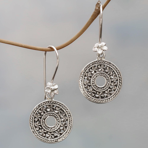 Hand Made Sterling Silver Dangle Earrings Floral Indonesia 'Jepun Coins'