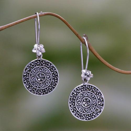 Floral Circular Sterling Silver Dangle Earrings Indonesia 'Sacred Petals'