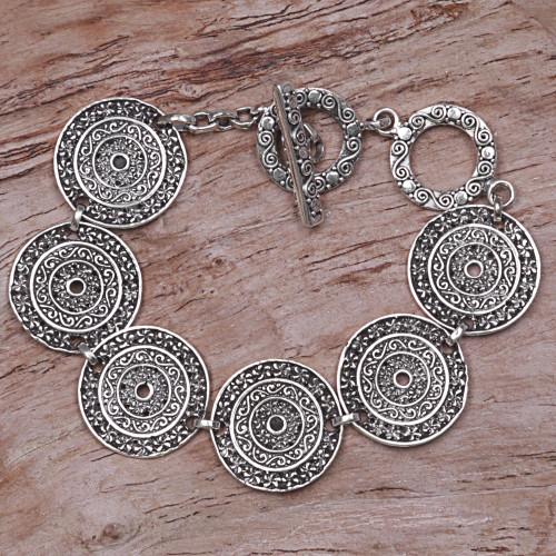 Sterling Silver Handcrafted Disc Link Bracelet 'Frangipani Altar'