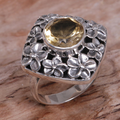 Hand Made Balinese Sterling Silver and Citrine Cocktail Ring 'Jepun Shrine'