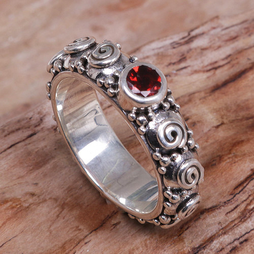 Garnet and Sterling Silver Single Stone Ring from Indonesia 'Swirls of Joy in Red'