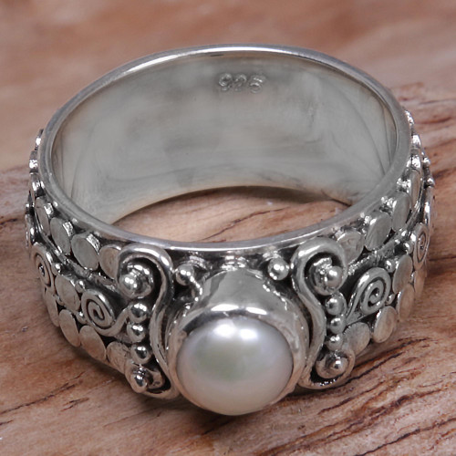 Cultured Pearl Single-Stone Ring from Indonesia 'Swirling Serenity'