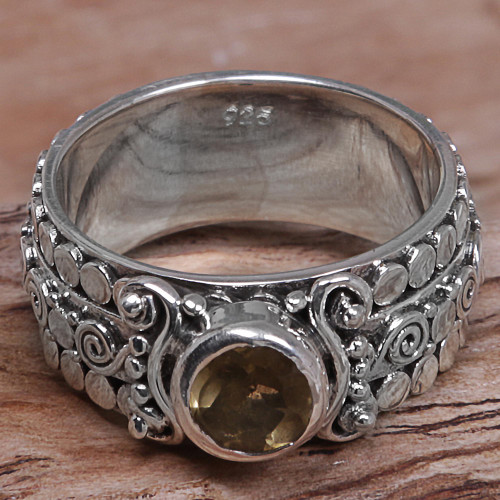 Citrine and Sterling Silver Single-Stone Ring from Indonesia 'Swirling Serenity'