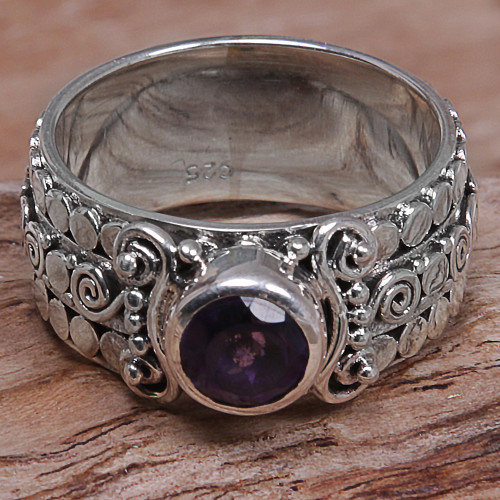 Amethyst Sterling Silver Single-Stone Ring from Indonesia 'Swirling Serenity'