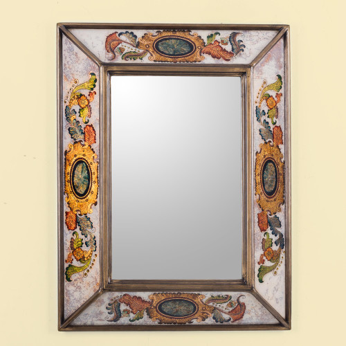 Reverse Painted Glass Rectangular Floral Wall Mirror 'Floral Medallions'