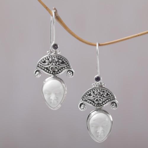 Amethyst and Bone Dangle Earrings by Balinese Artisans 'Janger Duet'