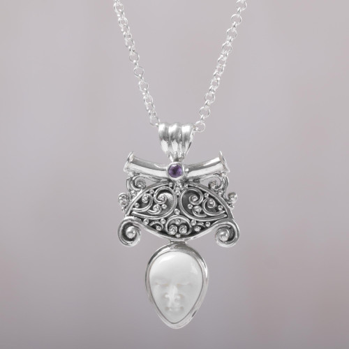 Amethyst and Bone Pendant Necklace by Balinese Artisans 'Janger Solo'