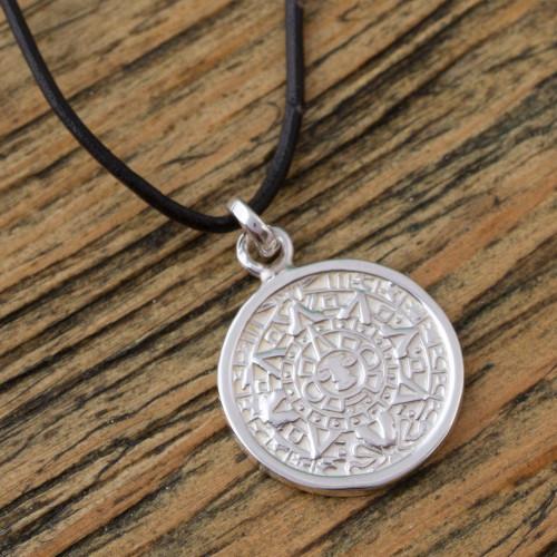 Mexican Aztec Calendar Unisex Necklace in Silver 925 'Aztec History'