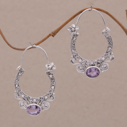 Amethyst and Sterling Silver Floral Hoop Earrings from Bali 'Spiral Arches'