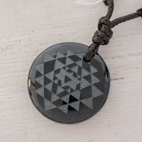Black Jade Geometric Pendant Necklace from Guatemala 'Geometric Inspiration'