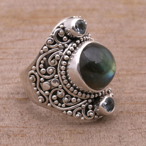 Labradorite and Blue Topaz Cocktail Ring from Bali 'Beguiling Soul'