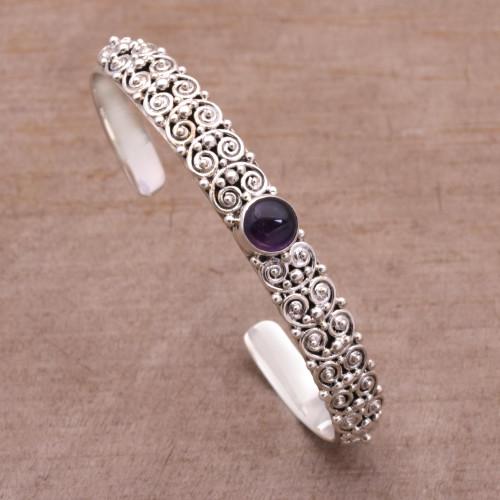 Amethyst and Sterling Silver Cuff Bracelet from Bali 'Swirling Feeling'