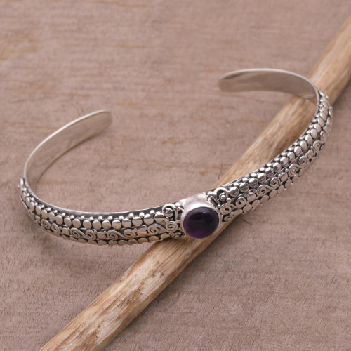 Amethyst and Sterling Silver Cuff Bracelet from Bali 'Swirling Altar'