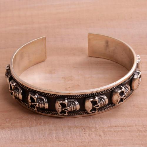 Men's Sterling Silver Skull Cuff Bracelet from Bali 'Fierce Skulls'