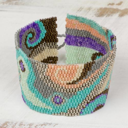 Colorful Glass Beaded Wristband Bracelet from Guatemala 'Colorful Maya'