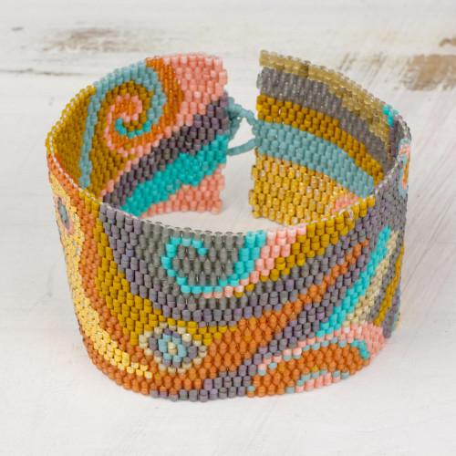 Colorful Glass Beaded Wristband Bracelet from Guatemala 'Bubbling Maya'