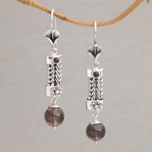 Floral Smoky Quartz and Amethyst Dangle Earrings from Bali 'Floral Fascination'