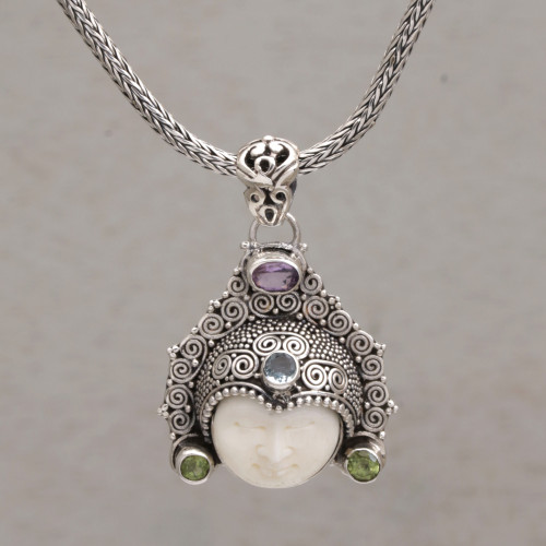 Multi-Gemstone Face-Shaped Pendant Necklace from Bali 'Wayan Crown'