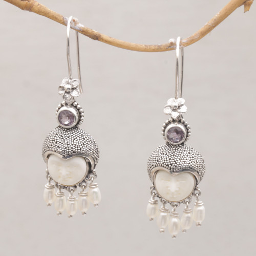 Amethyst and Cultured Pearl Dangle Earrings from Bali 'Sunshine Princes'