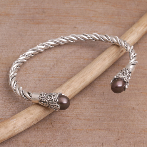 Brown Cultured Pearl Cuff Bracelet from Bali 'Jepun Seeds in Brown'