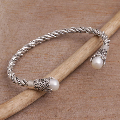 White Cultured Pearl Cuff Bracelet from Bali 'Jepun Seeds in White'