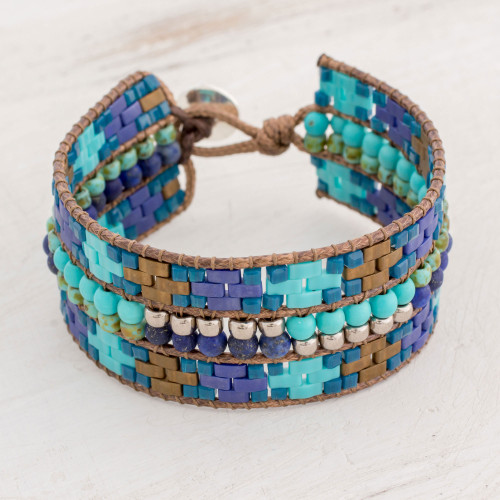 Wide Glass Wristband Bracelet in Blue from Guatemala 'Folklore of My Country'