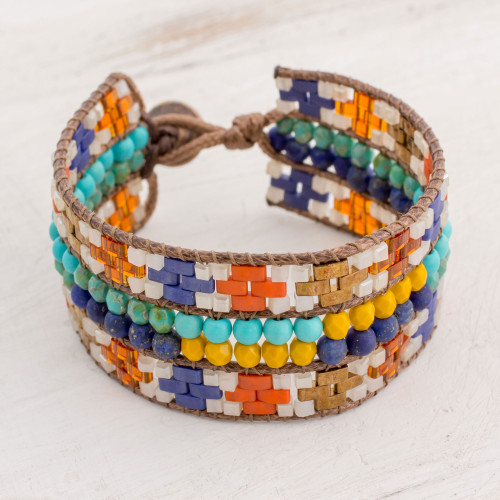 Colorful Glass Wristband Bracelet from Guatemala 'Traditions of My Country'